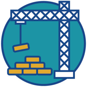 Icon of a crane moving construction materials.