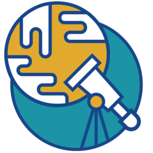 Icon of a telescope looking at a planet.
