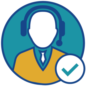 Icon of a person with a headset and a confirmation checkmark.