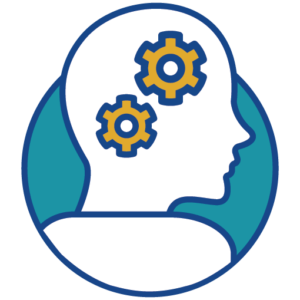 Icon of a person with wheels spinning in their brain.