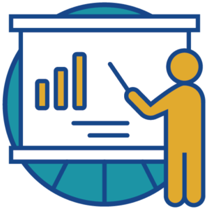 Icon of a person presenting a chart.